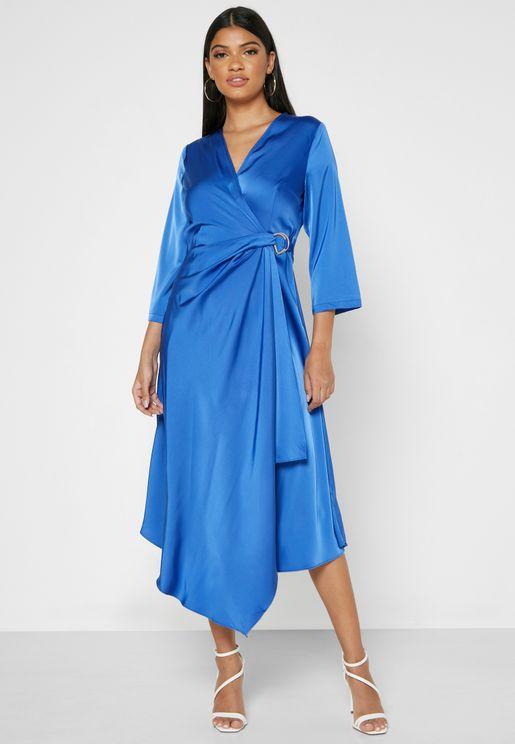Wrap Front Asymmetrical Hem Midi Dress