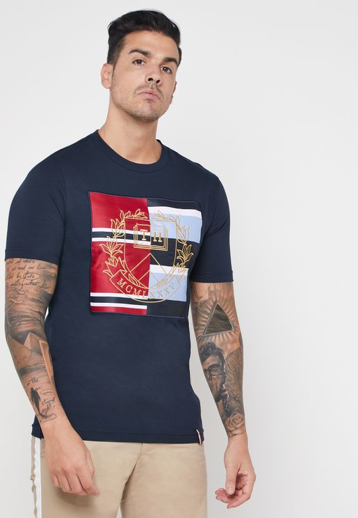 Mixed Crest  Crew Neck T-Shirt