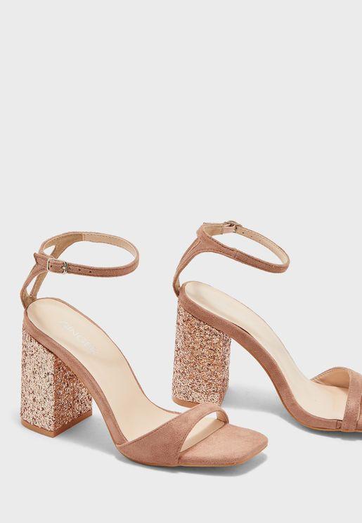 Glitter Heel Sandal