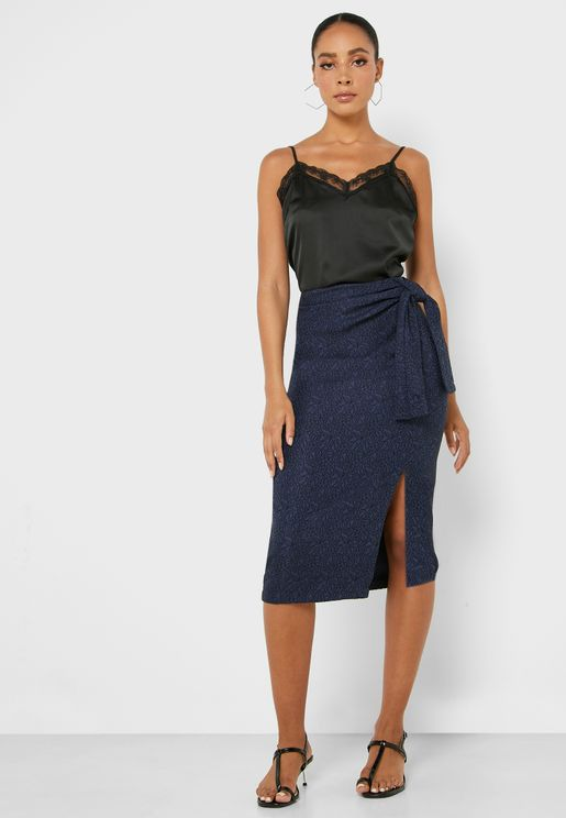 Embroidered Tie Side Midi Skirt