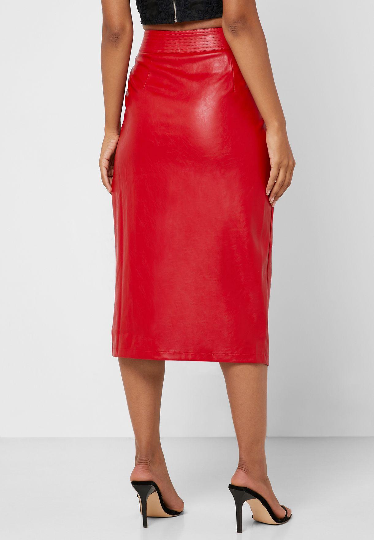 PU Wrap Pencil Skirt