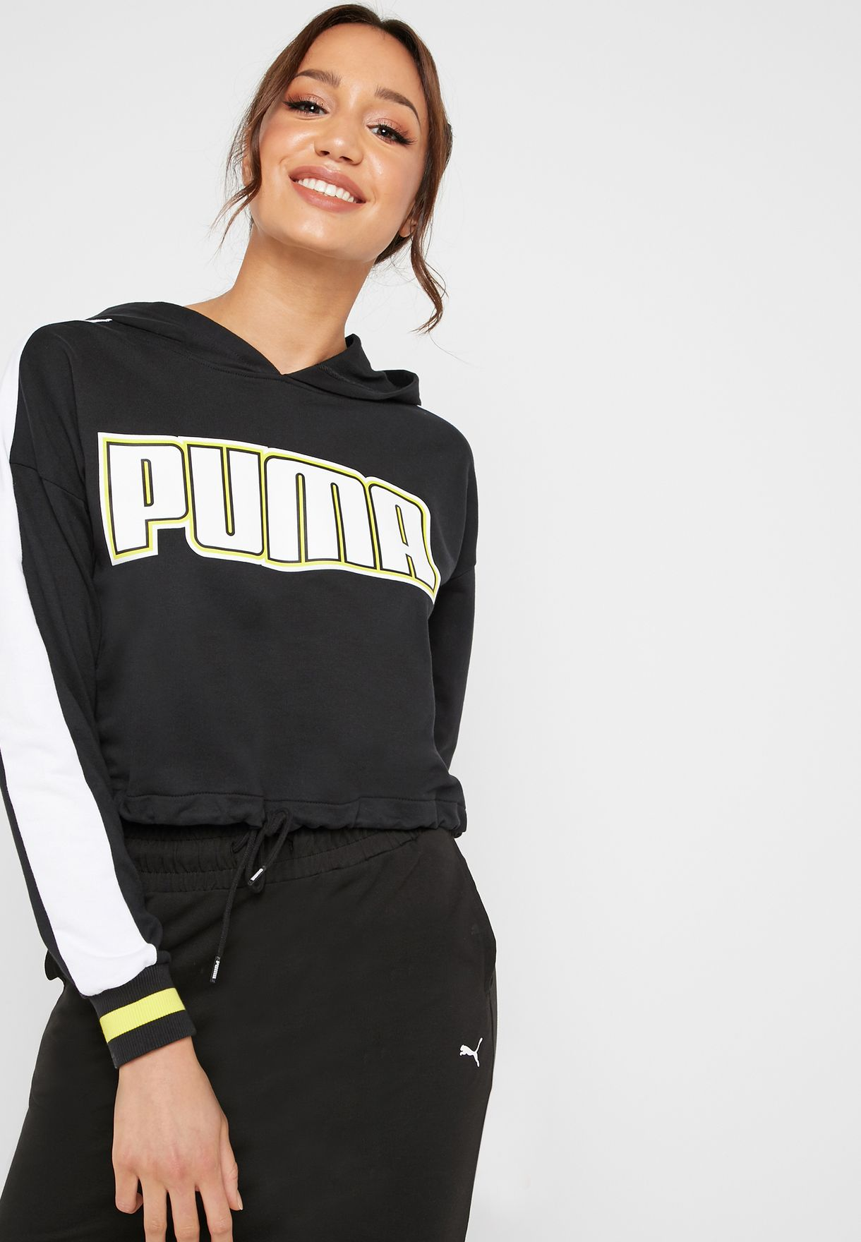 eaa4d562097 Shop PUMA black Rebel Reload Cropped Hoodie 57953501 for Women in ...