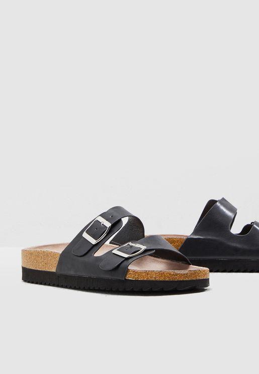 Wide Fit Hotly Flat Sandal - Black