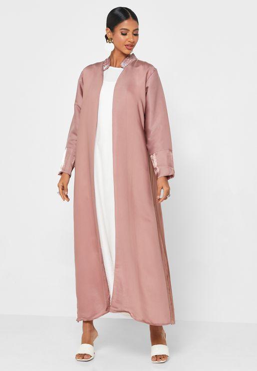 Contrast Trim Abaya