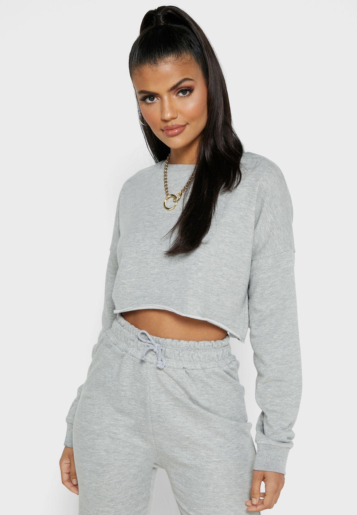 Cropped Sweatshirt & Shorts Set