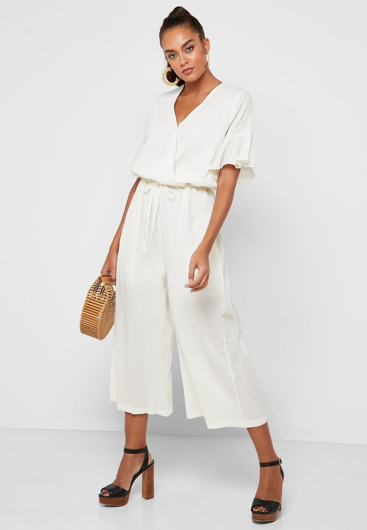 Wrap Front Ruffle Sleeve Cropped Jumpsuit