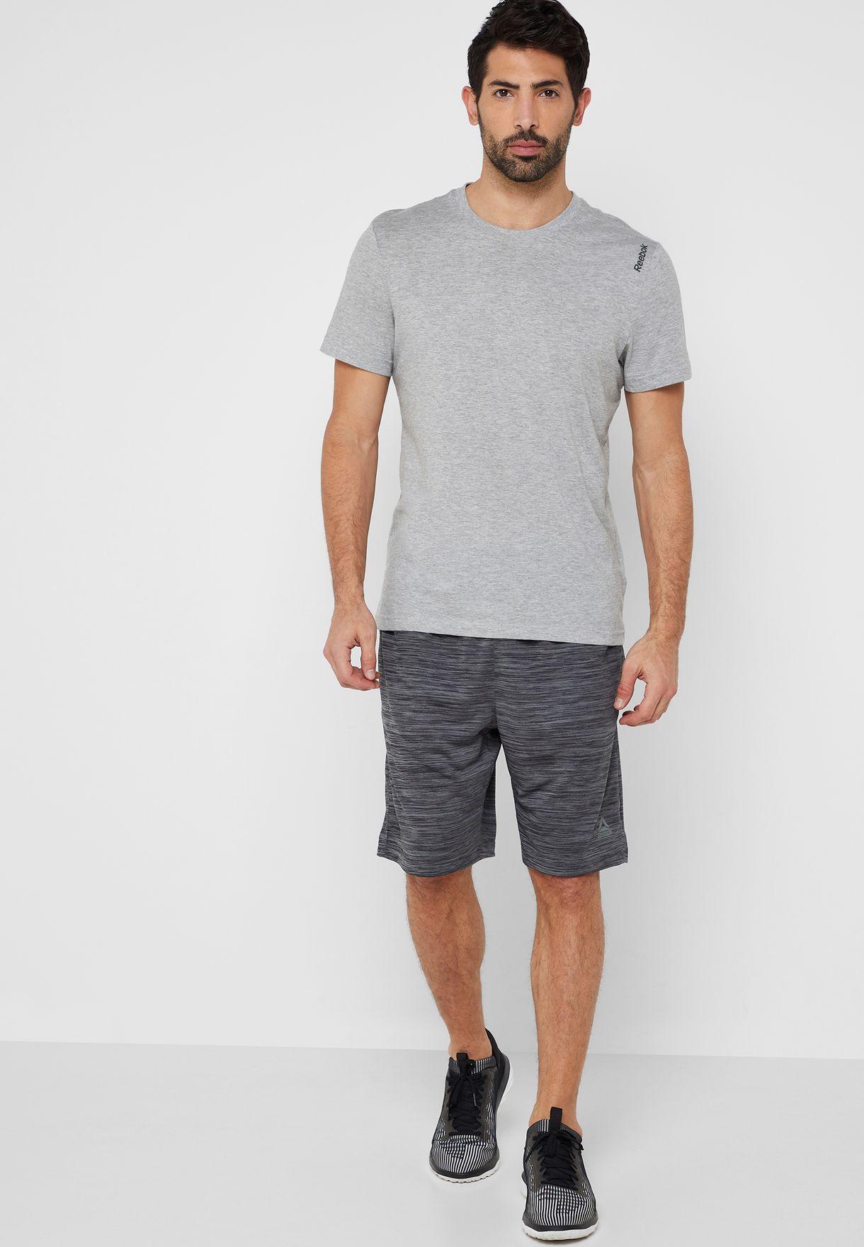 58bd4dbc8c63 Shop Reebok grey Workout Ready Knit Shorts CY3614 for Men in Saudi ...