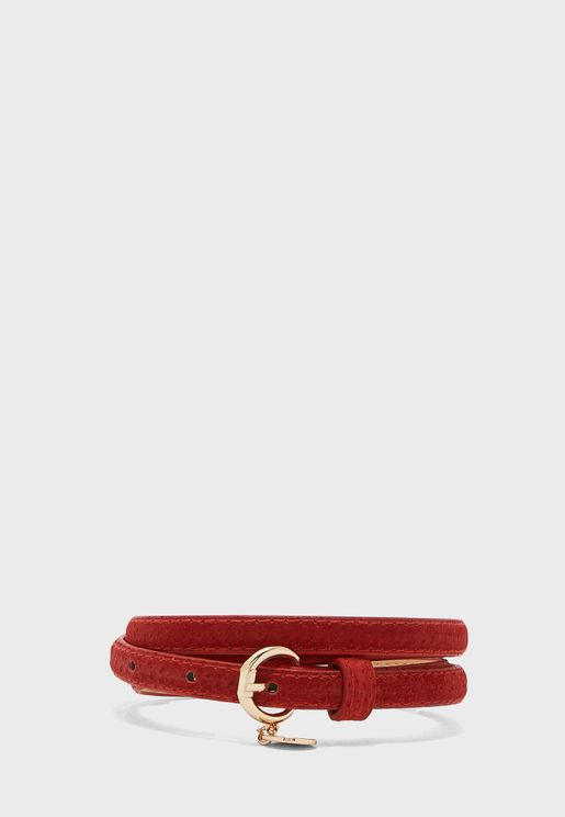 Skinny Belt With Disc Buckle Detail