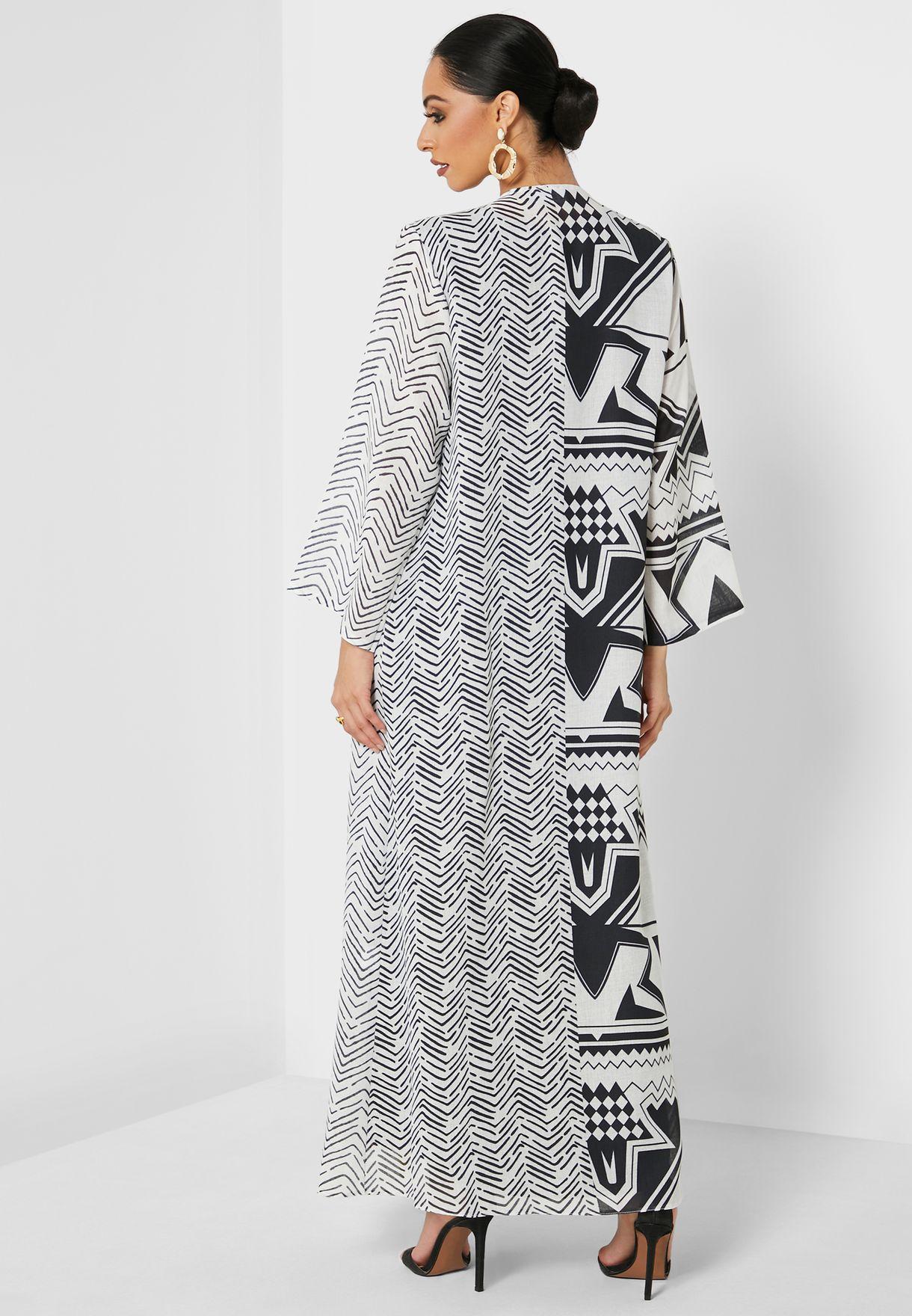 Printed Pleated Abaya