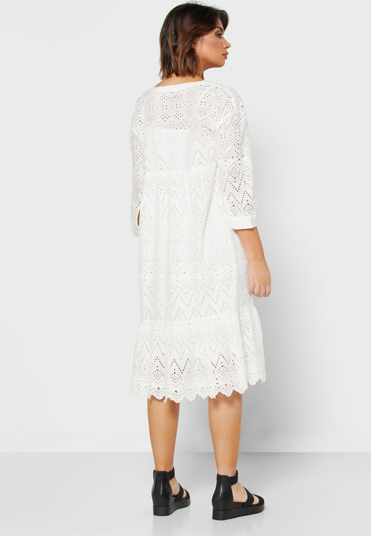 Notch Neck Broderie Dress