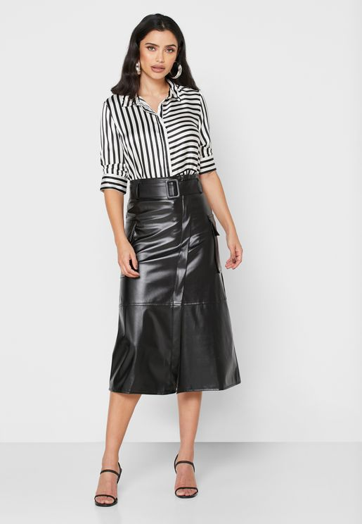 PU Wrap Front Belted Midi Skirt