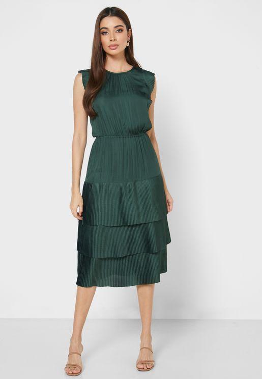 Ruffle Trim Layered Hem Dress