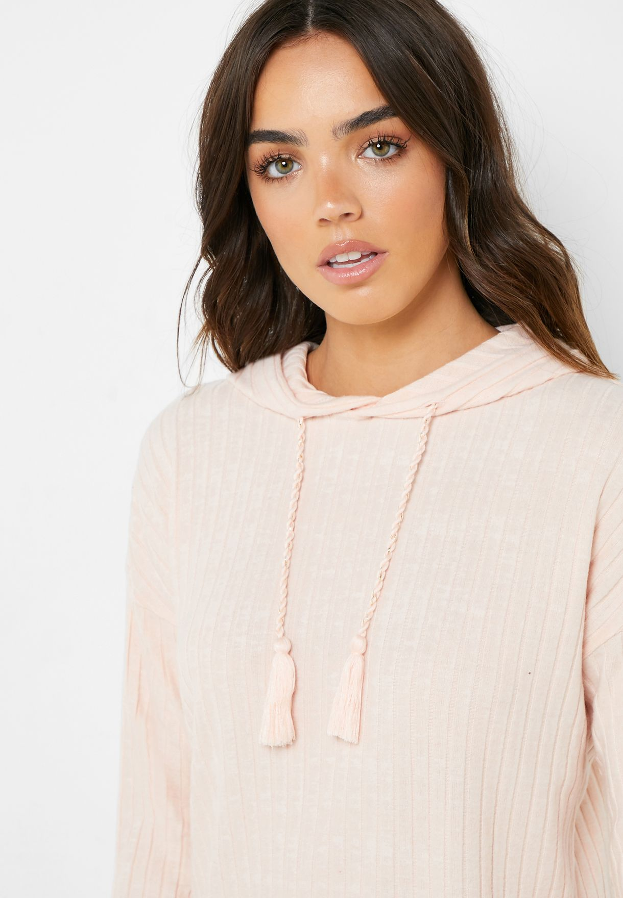 Ribbed Hooded Top