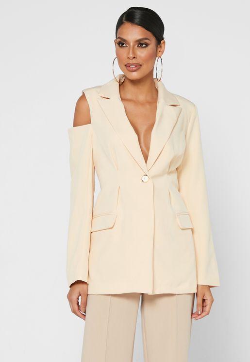 Tailored Drape Cut Out Shoulder Blazer