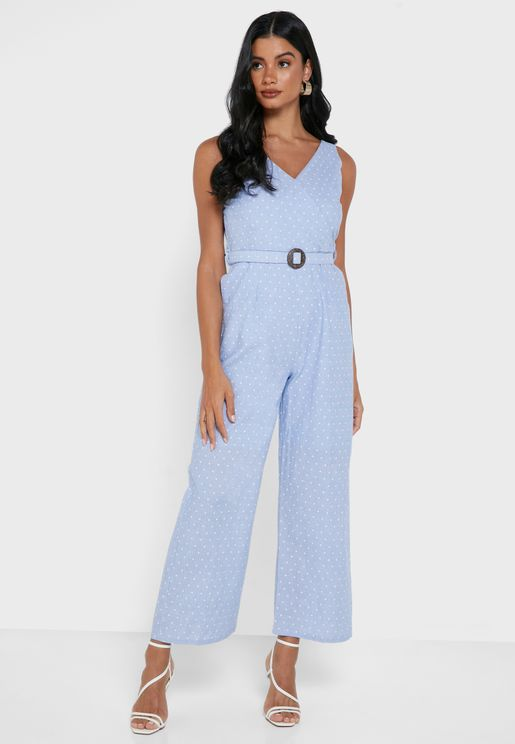 Blue Polka Belted Chambray Jumpsuit