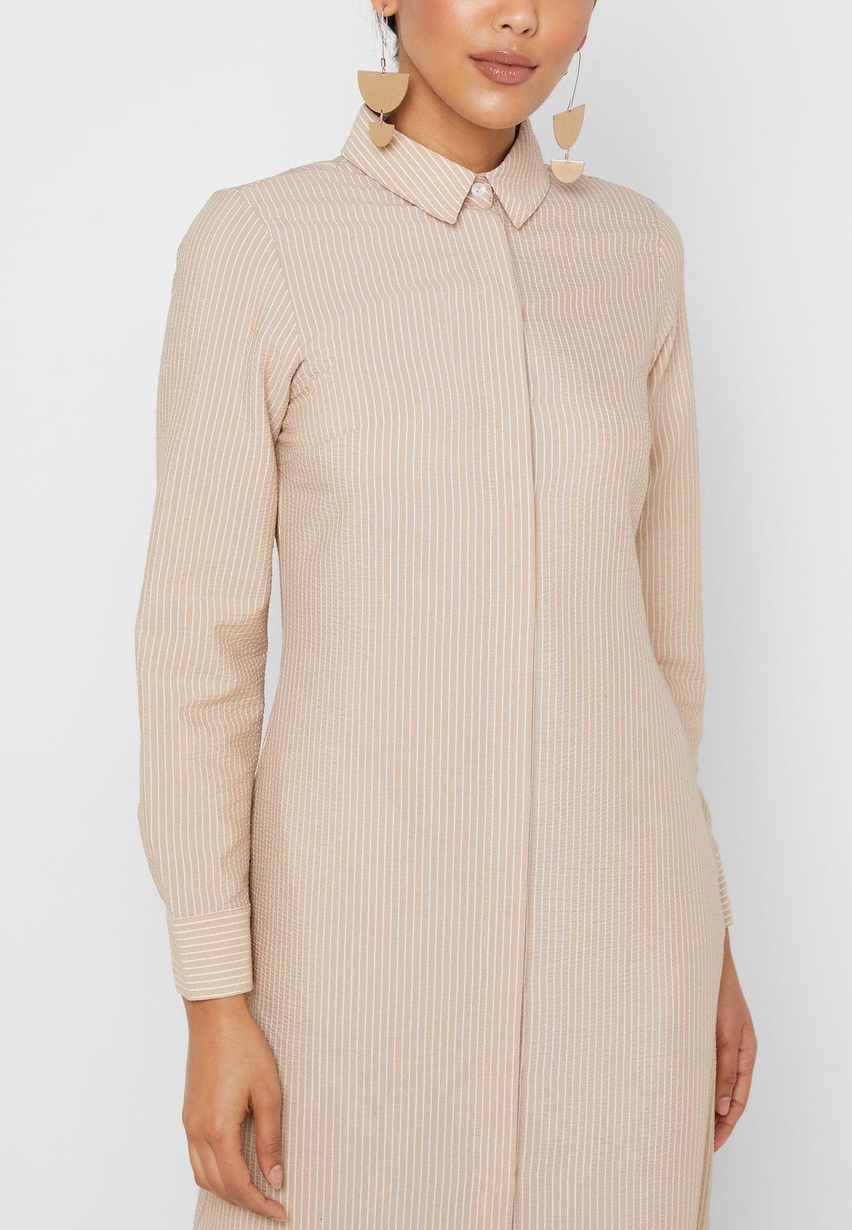 Layered Ruffle Hem Button Down Dress