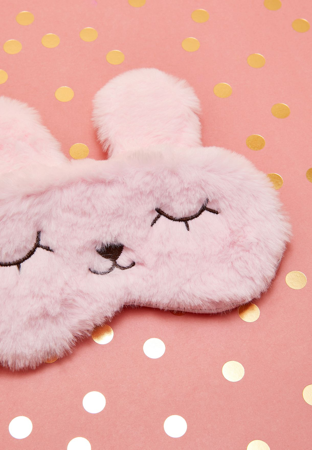 Pink Fluffy Bunny Eye Mask