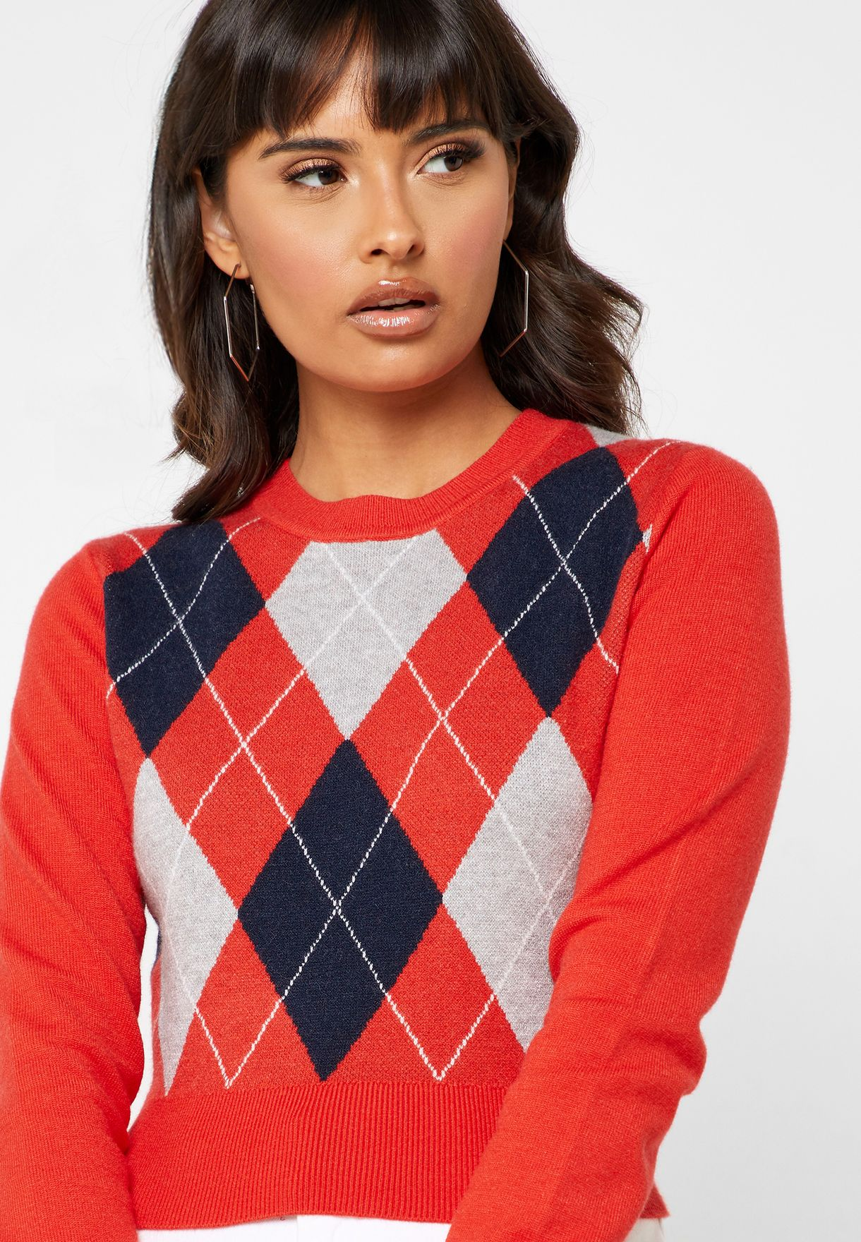 Geo Print Cropped Sweater