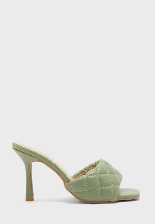Quilted Stiletto Mule Sandal