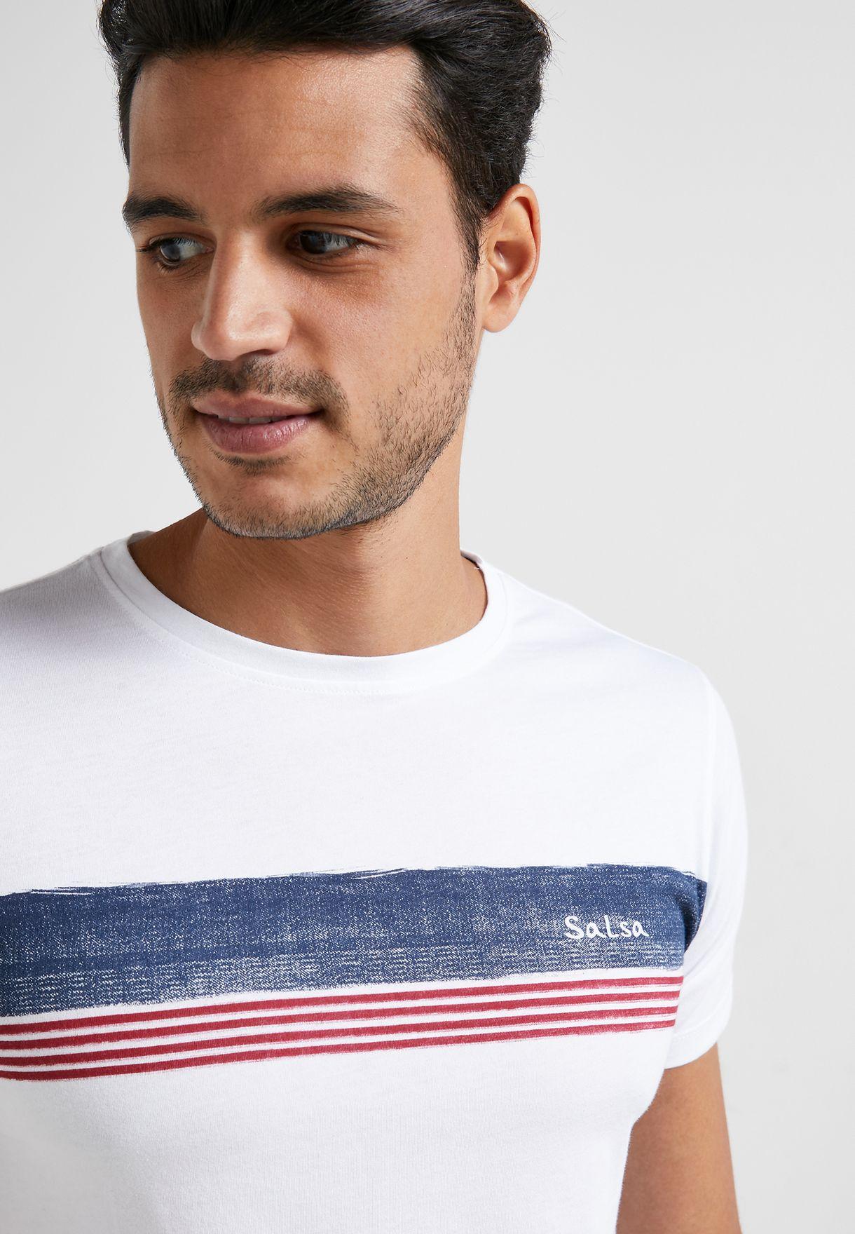 Chest Stripe Crew Neck T-Shirt