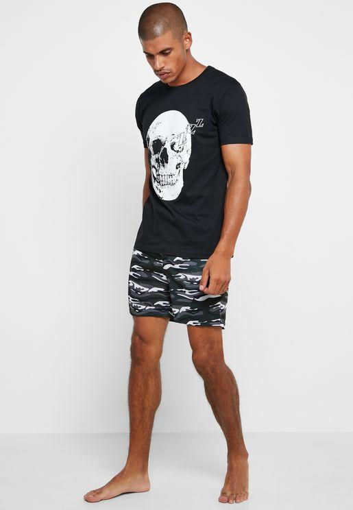 Camo Skull Short Pyjama Set