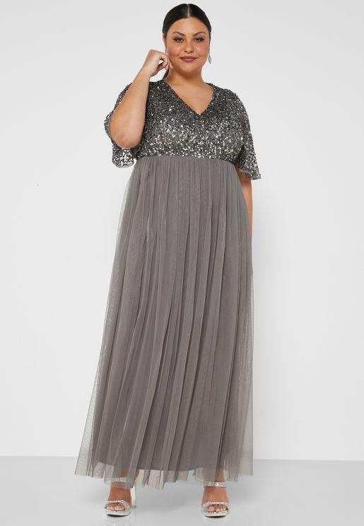 Short Sleeve Sequin Maxi Dress