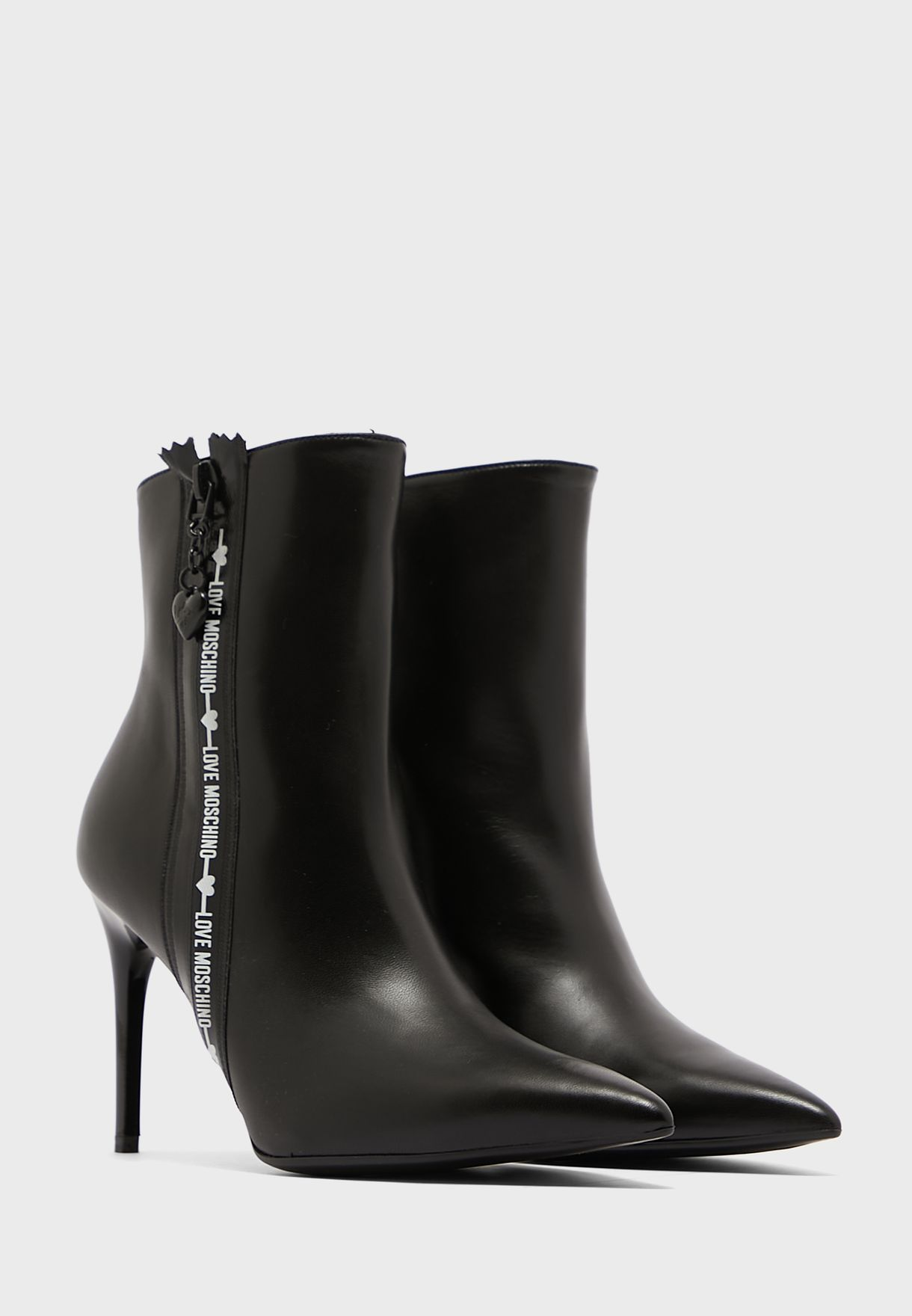 Side Zip Mid Heel Ankle Boots