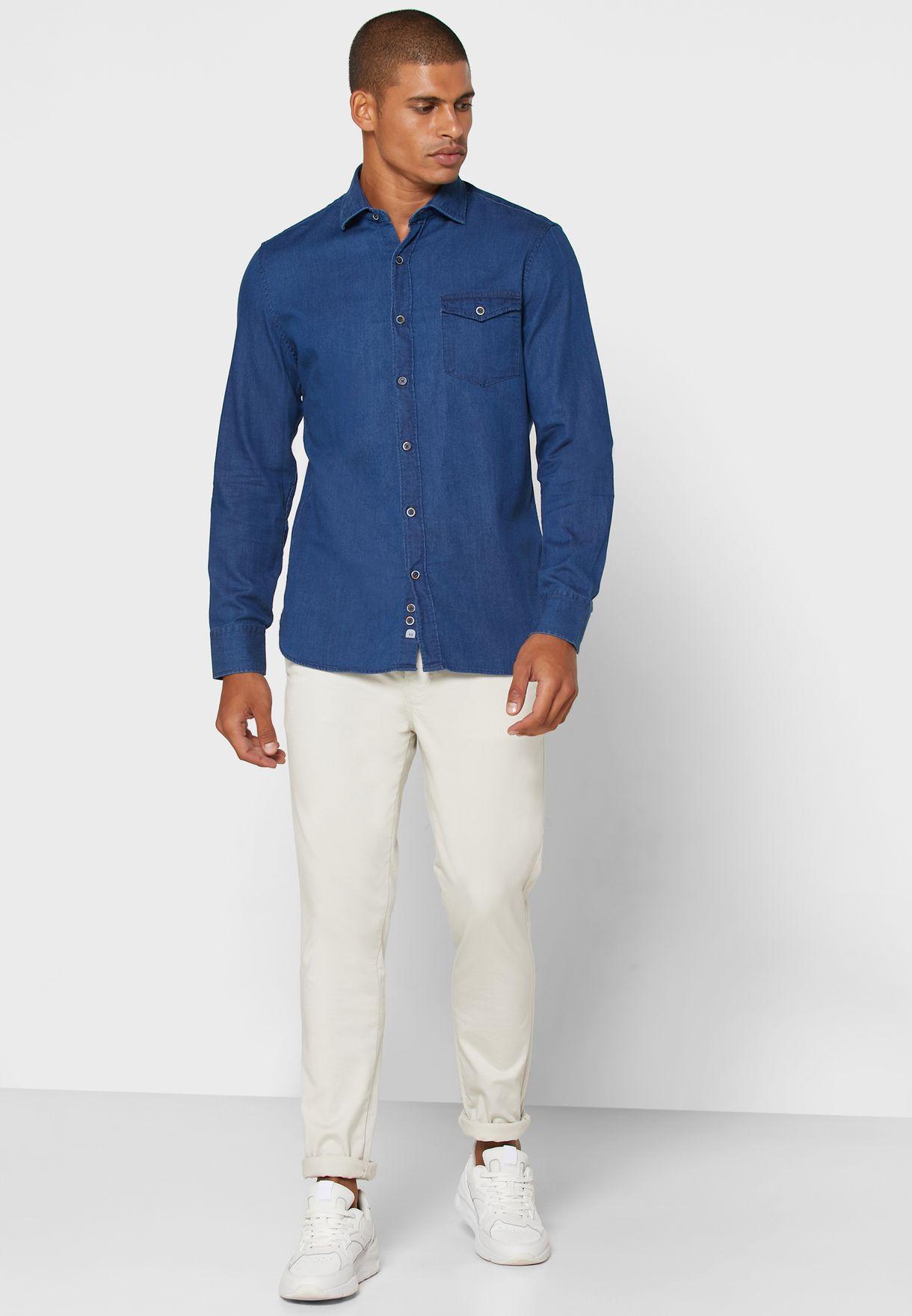 قميص جينز بقصة سلم فت