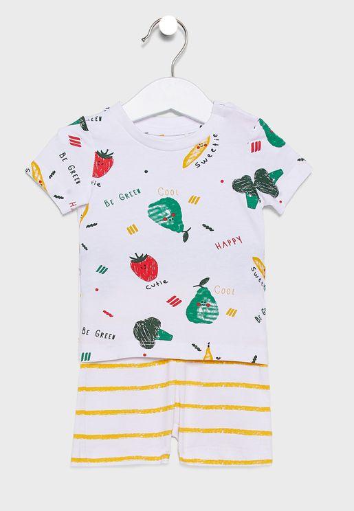 Infant Printed T-Shirt + Striped Shorts