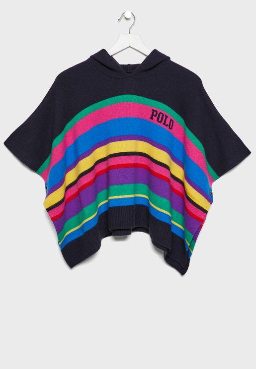 Kids Hooded Poncho Sweater