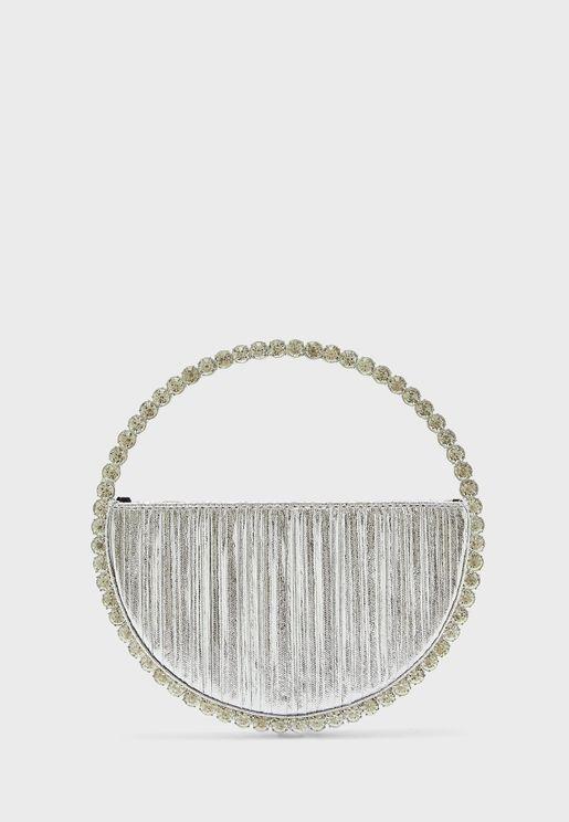 Diamante Jewel Circle Clutch Bag