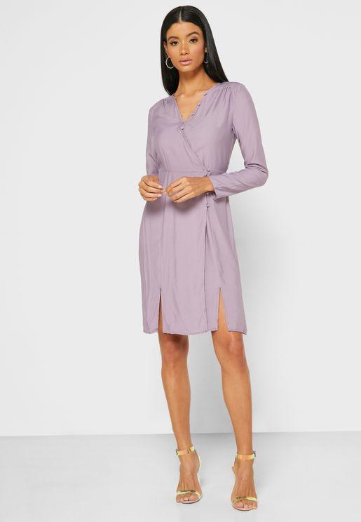 Wrap Front Butotn Mini Dress