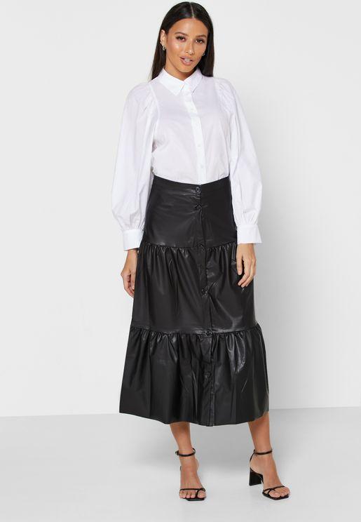 PU Tiered Maxi Skirt