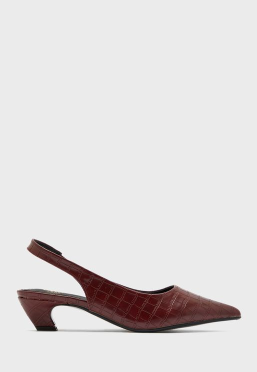Pointed  Croc Effect Slingback Block Heel Pump
