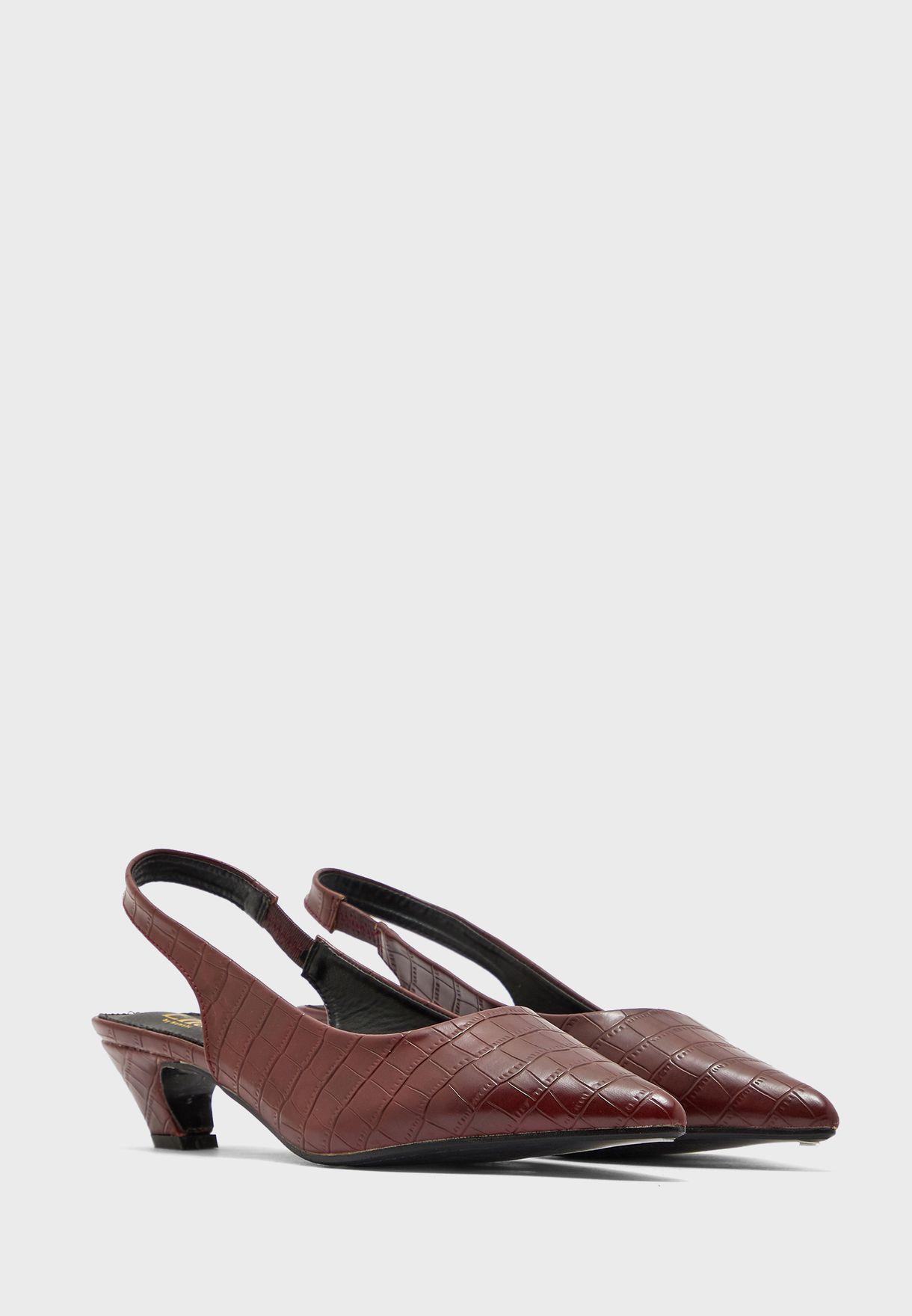 Pointed  Croc Effect Slingback Block Heel Pump