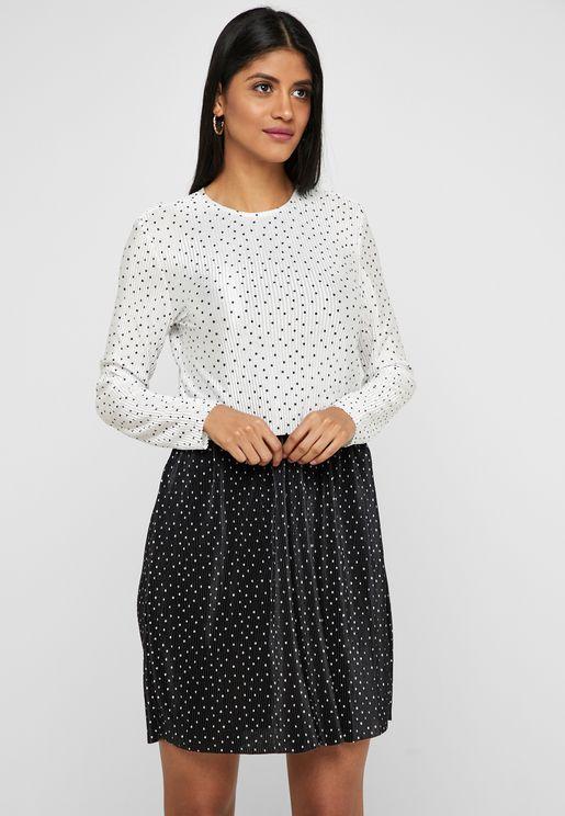 Polka Dot Two Tone Dress