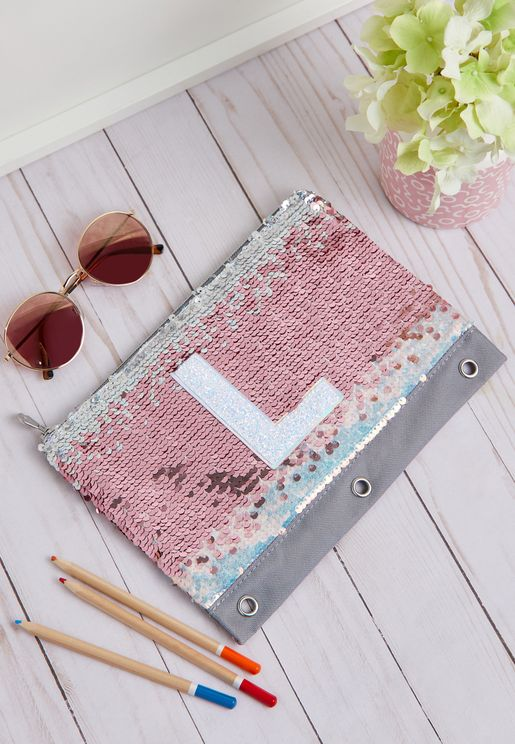 Kids Flip Sequin Initial Pencil Case