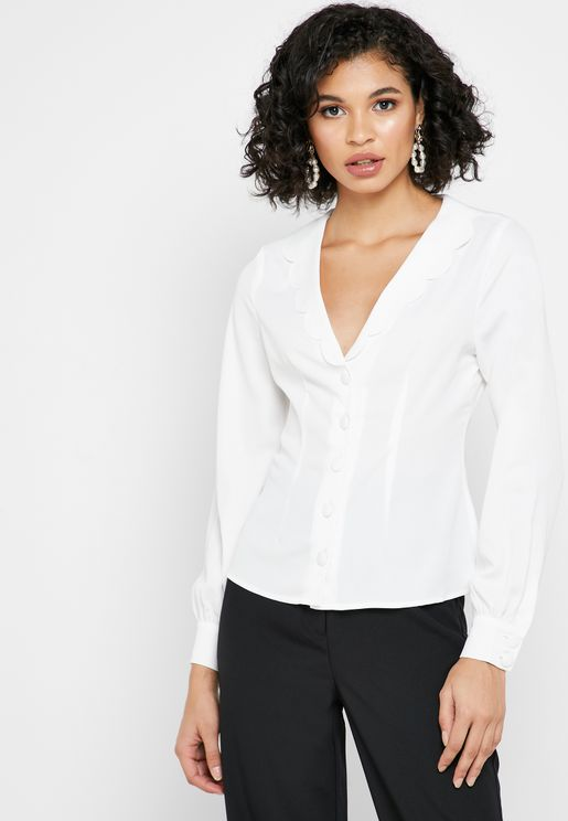Scallop Detail Button Down Shirt