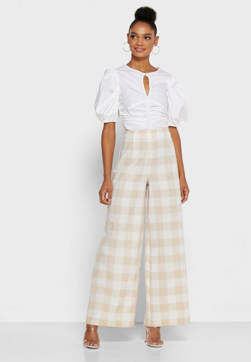 Checked Wide Leg Pants