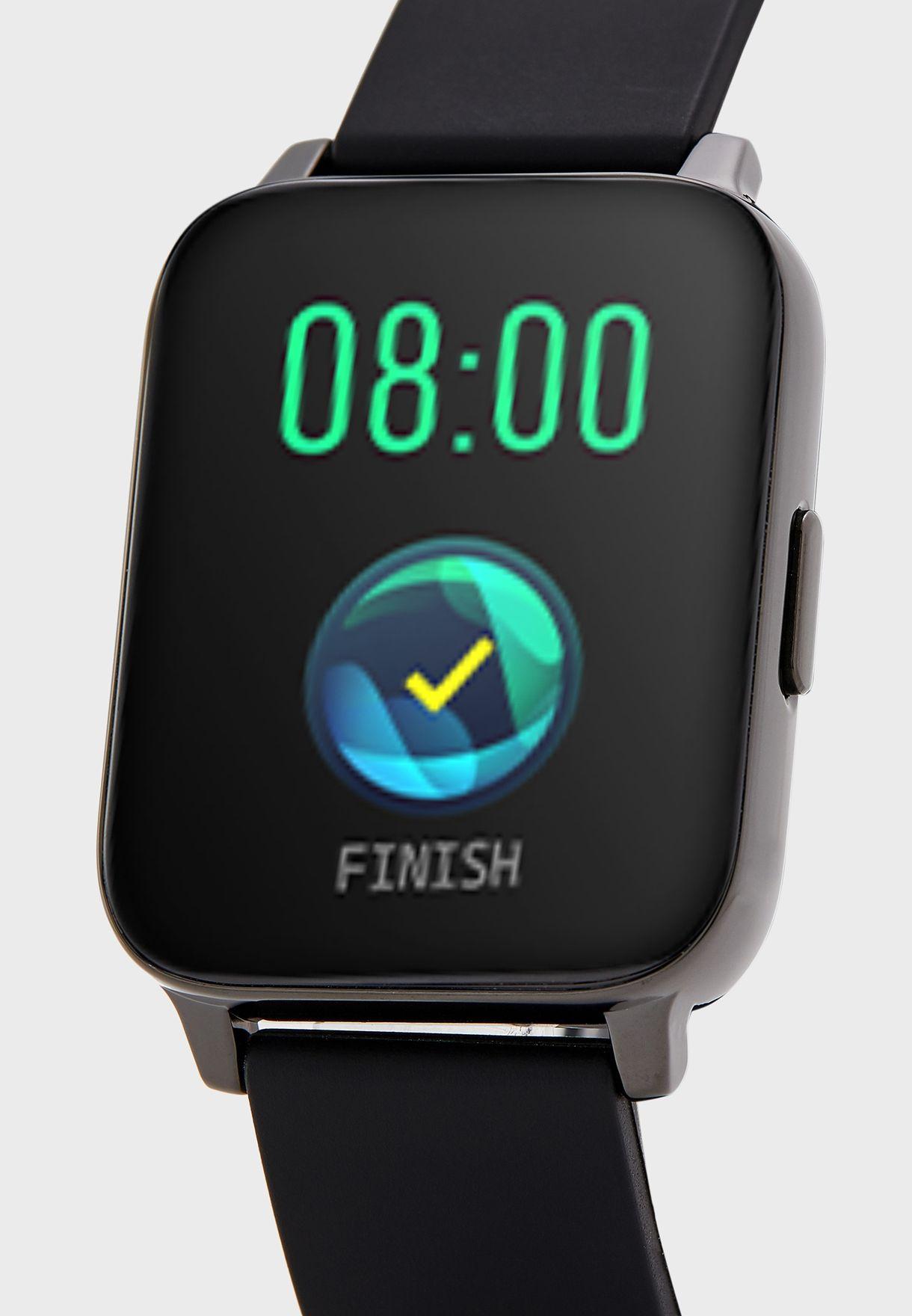 ساعة ذكية مع معدل ضربات القلب وميزات متعددة