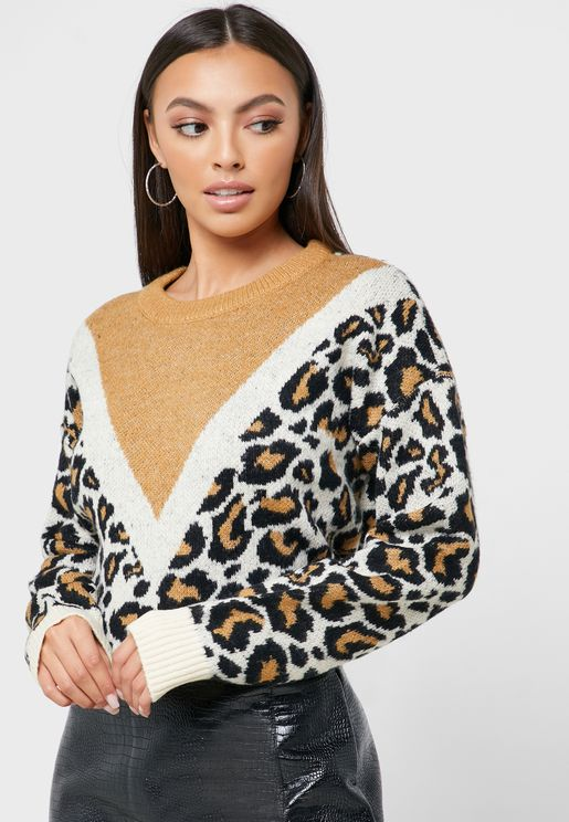 Leopard Colourblock Sweater