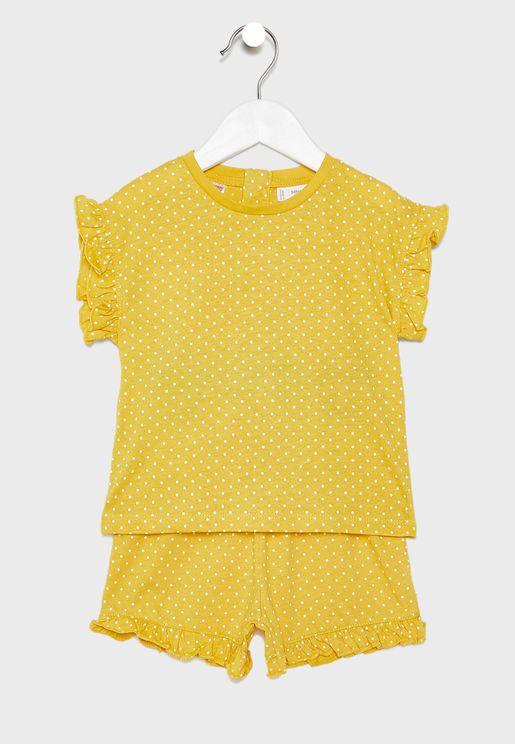 Infant Dot Print Pyjama Set