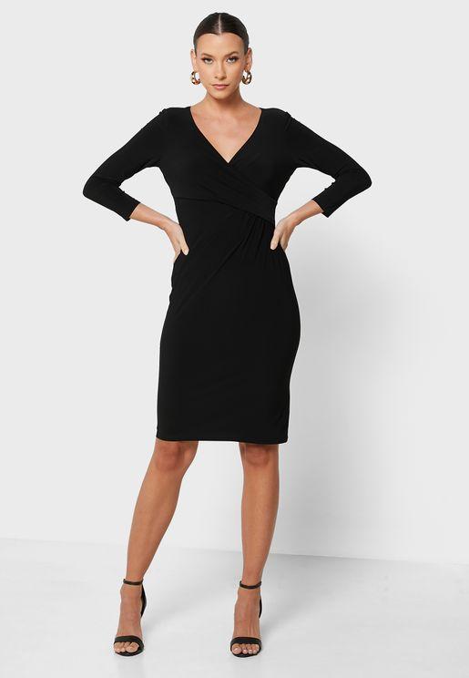 Cleora Pleated V-Neck Dress