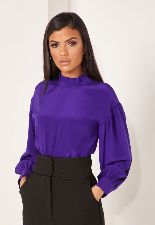 Chapelle High Ruffle Neck Top