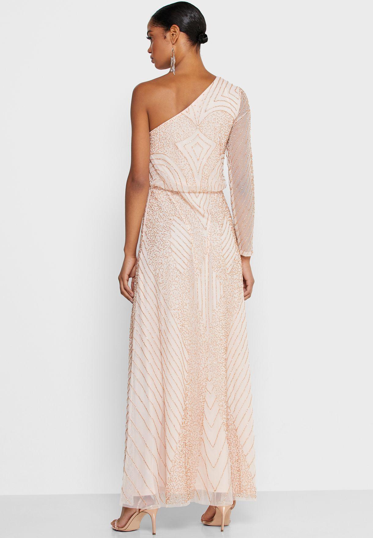 فستان براق بكتف واحد