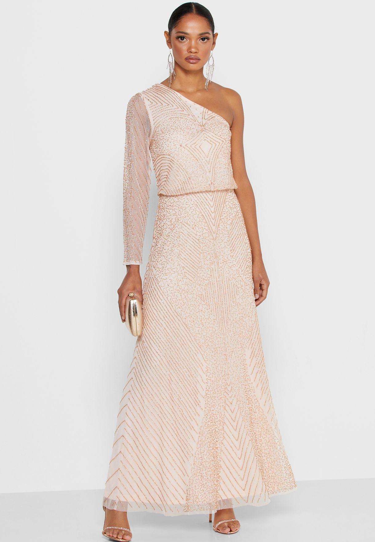Buy Miss Selfridge Petite Pink One Shoulder Shimmer Dress For Women, Uae 20960at92eup