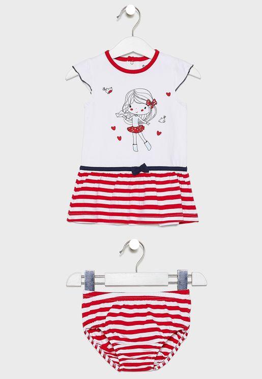 Infant Graphic Dress + Panties Set