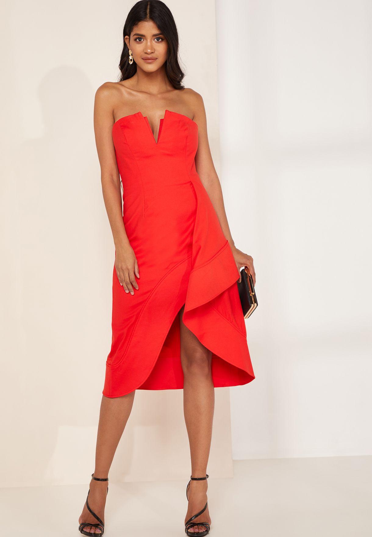 Ophelia Bandeau Ruffle Detail Dress