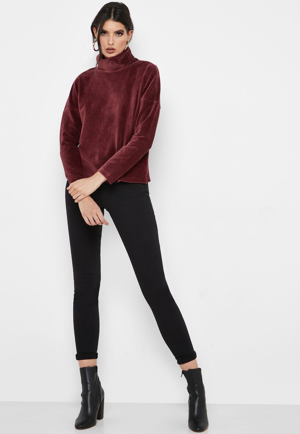 Roll Neck Velvet Ribbed Sweater