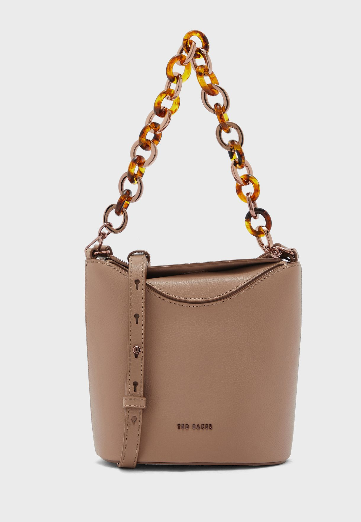 Brookk Resin Chain Mini Bucket Hobo